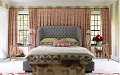 Traditional Fabric Bedroom With Large Fabric Curtain