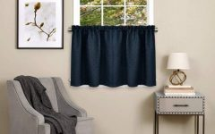 Class Blue Cotton Blend Macrame Trimmed Decorative Window Curtains
