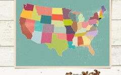 Us Map Wall Art license plate map sticker rustic usa wall map