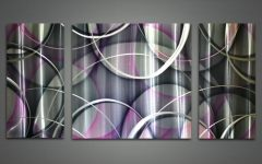 Purple and Grey Abstract Wall Art