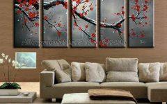 Red Cherry Blossom Wall Art