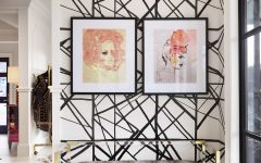 Watercolor Art and Fabulous Geometric Wallpaper for Modern Sitting Room