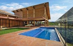 Wood House With Swimming Pool Idea