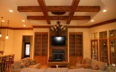 Wood Grid Ceiling Ideas for Contemporary Living Room