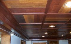 Wooden Basement Ceiling With Modern Lighting